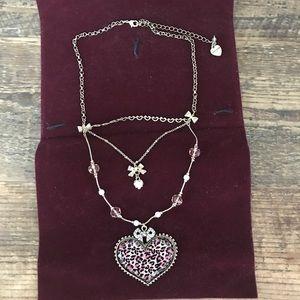 Betsey Johnson Leopard Heart Necklace